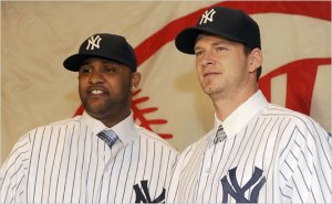 C.C. Sabathia helps A.J. Burnett scan the room for a potential doctor to use later this year.