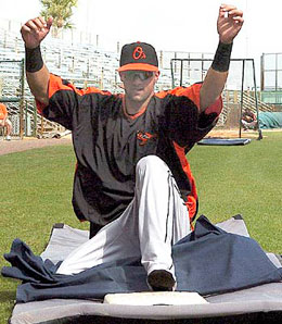 Nick Markakis may be the first player to ever pose for a slide. I don't even think Rickey Henderson did that.